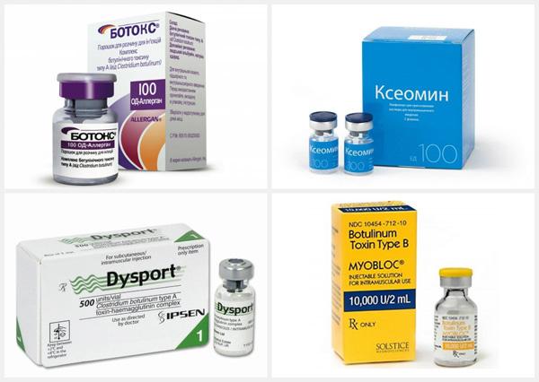 Препараты ботулотоксина: Ботокс, Ксеомин, Диспорт, Миоблок